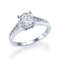"""טבעת אירוסין זהב לבן סוליטייר """"סטפני"""" 1.75 קראט בשיבוץ יהלום ענק במרכז"""