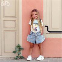 שורט Oro לילדות (מידות 2-7 שנים) ג'ינס בלון