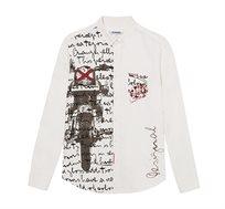 חולצה מכופתרת ארוכה בהדפס אותנטי לגברים Desigual דגם Half-Print בצבע לבן