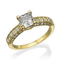 """טבעת יהלומים זהב צהוב """"אווה-פרינסס"""" 1.78 קראט"""