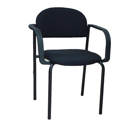 כיסא אורח בריפוד בד בשילוב מתכת עם ידיות דגם רקפת