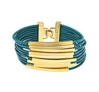 צמיד צינורות מלבנים בציפוי זהב 24 קראט עם עור טורקיז