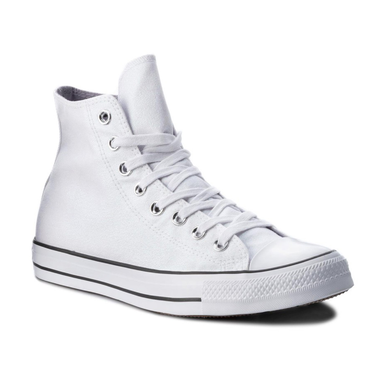 נעלי סניקרס All Star גבוהות לנשים - לבן וכסף מטאלי