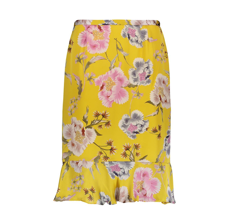 חצאית פרחונית לנשים Punt Roma - צהוב