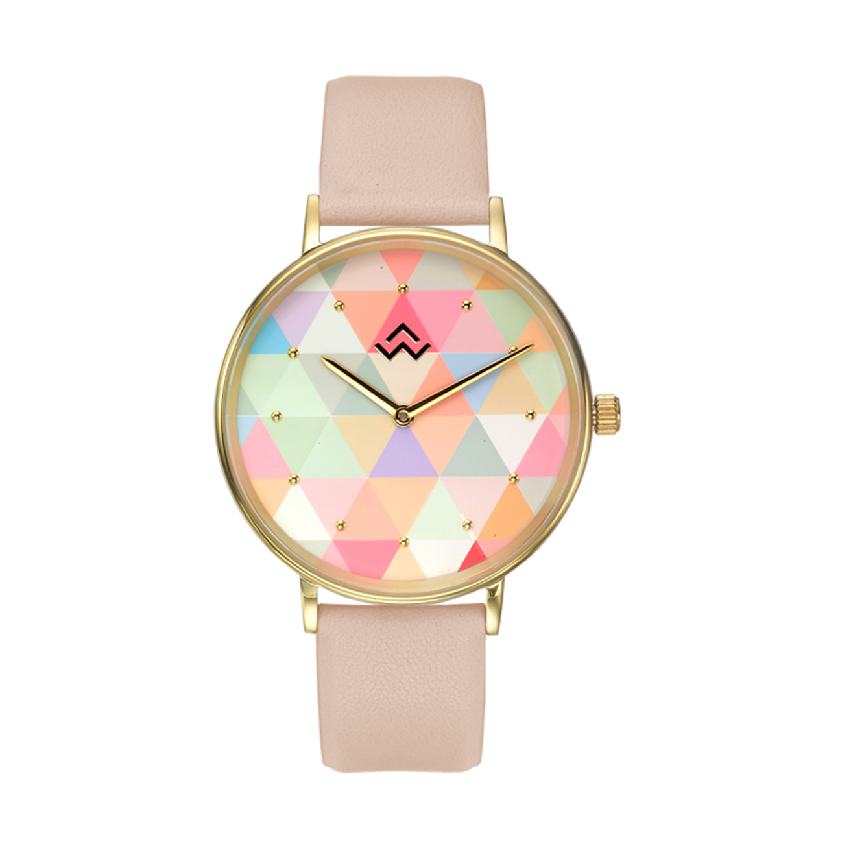 שעון יד לנשים עם רצועת עור ורודה ולוח מעוצב