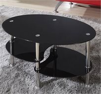 שולחן סלון דגם DARK בשילוב מדפי זכוכית וניקל