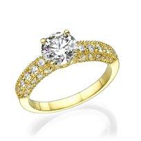"""טבעת יהלומים """"אווה"""" 1.78 קראט מזהב צהוב בעיצוב וינטאג'"""