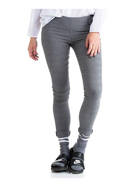 מכנסי סקיני משובץ - אפור