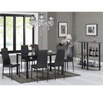 פינת אוכל משולבת מתכת וזכוכית דגם ליאנו מבית Vitorio Divani ויטוריו דיוואני הכוללת שולחן ו-6 כיסאות