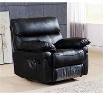 כורסת טלוויזיה LEONARDO מעור עם הדום נשלף, בעיצוב יוקרתי ולנוחות מירבית בצבע שחור