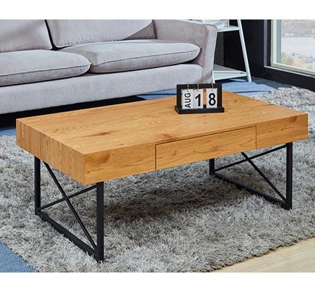 שולחן סלון מודרני מעץ בשילוב ברזל שחור דגם DENVER
