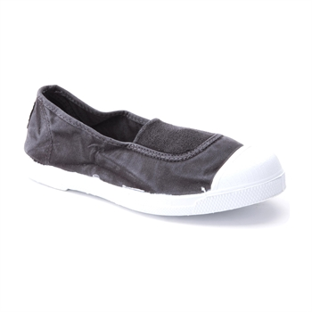 Natural World 103 - נעל נשים שטוחה מבד קנבס בצבע שחור משופשף