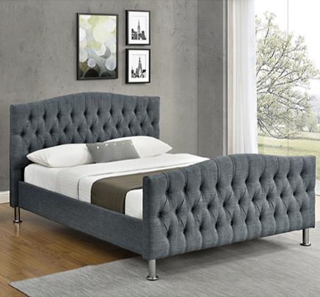 מיטה זוגית מעוצבת בריפוד בד אריג  HOME DECOR