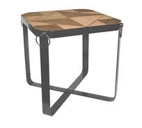 שולחן מרובע מתקפל עשוי עץ עם רגלי מתכת בגדלים לבחירה
