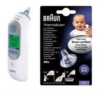 מדחום Braun דגם IRT6520 בעל פטנט לתוצאה מדוייקת יותר כולל מארז 40 כיסויים חד פעמיים