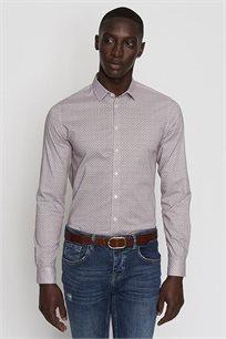 חולצה מכופתרת מודפסת EXTRA SLIM לגבר DEVRED - חום/לבן