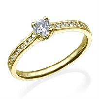 """טבעת יהלומים """"בלו"""" 0.51 קראט זהב צהוב"""