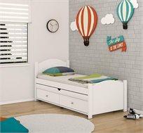 מיטת יחיד מעץ מלא לחדרי ילדים דגם אגם כולל מיטת חבר ומזרנים