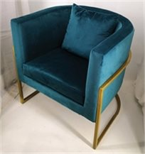 כורסא מעוצבת דגם דניאל מבד קטיפה איכותי צבע טורקיז רגליים זהב