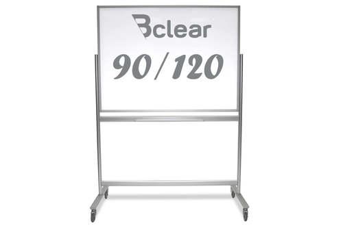 """לוח זכוכית מחיק מגנטי נייד על גלגלים דו צדדי 90X120 ס""""מ"""
