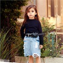 חולצת Oro לילדות (מידות 2-8 שנים) חולצת קווצ'ים שחורה