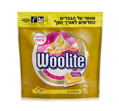 3 אריזות קפסולות ג'ל לכביסה Woolite לשמירה על הבגדים
