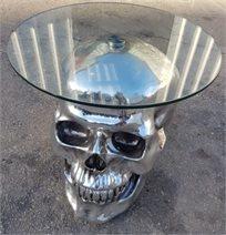 שולחן גולגולת בצבע כסף עם משטח זכוכית עגול שקוף