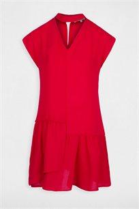 """שמלת קרפ קצרה בגזרת """"LOOSE"""" עם מלמלה MORGAN בצבע אדום"""