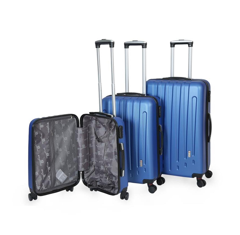 מדהים סט 3 מזוודות קשיחות Polo Swiss קלות משקל עם חלוקה פנימית בעלות 4 FV-86