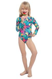 בגד-ים שלם שרוול ארוך טרופי לילדות Pilpel בצבע צבעוני
