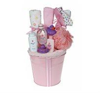 בייבי פינוקי ורוד - מתנת לידה המעוצבת כזר מרהיב ובו שזורים באהבה מוצרים שימושיים ומפנקים לאמבטיה