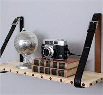מדף חגורות בשילוב עץ אורן מלא