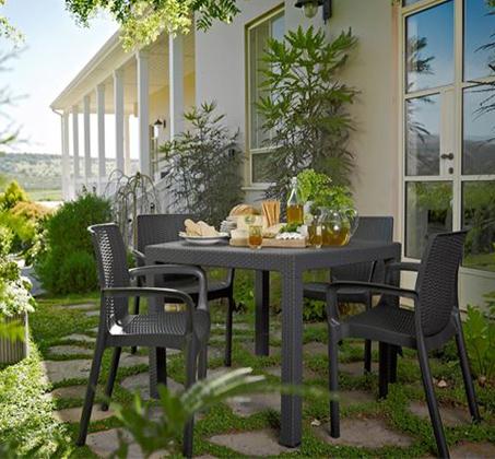 """פינת ישיבה לגינה דמוי ראטן שולחן מרובע 95 ס""""מ ו4 כיסאות דגם קוורטט"""