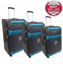 Swiss Travel | סט 3 מזוודות מבד אפור - טורקיז