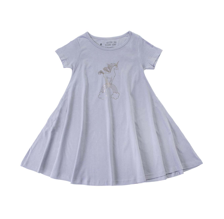 שמלה מסתובבת חד קרן וקשת - אפור
