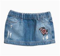 חצאית ג'ינס לתינוקות וילדות בצבע Light Wash עם פאצ'ים