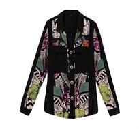 חולצה מכופתרת בהדפס פרחוני Victoria לנשים - שחור