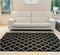 שטיח סלון בדוגמת מעוינים דגם קוטג' בצבע שחור גדלים לבחירה