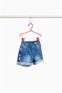 מכנסי ג'ינס קצרים לילדות עם רצועת פאייטים בשני הצדדים