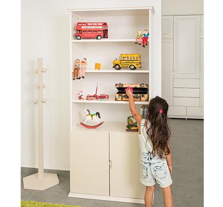 כוננית 4 מדפים עם דלתות אחסון עשויה מעץ מלא דגם דניאל בצבעים לבחירה HIGHWOOD - תמונה 5