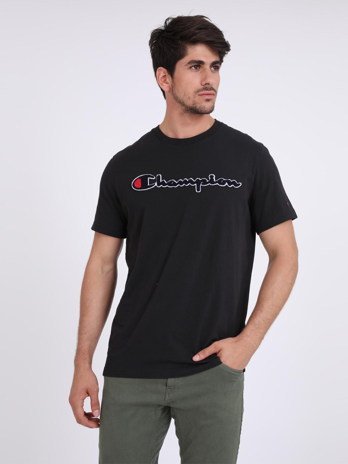 Champion גברים - חולצה בייסיק שחורה
