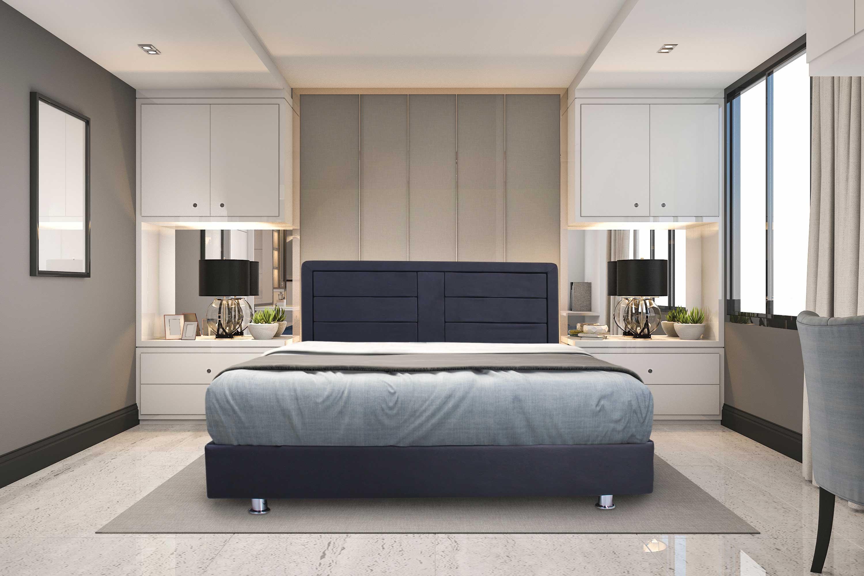 מיטה מעוצבת מעץ מרופדת בדמוי עור במגוון צבעים לבחירה + מזרן מתנה
