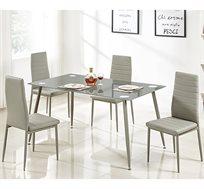 פינת אוכל מעוצבת מזכוכית אפורה עם 4 כסאות דמוי עור