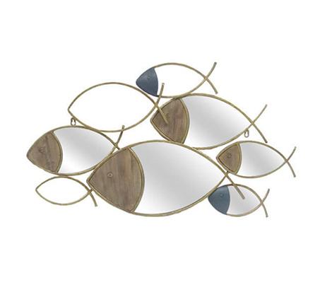 קישוט קיר בעיצוב דגים עשויים מתכת