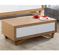 שולחן לסלון בשילוב גוון עץ וצביעה אפוקסית דגם יובל