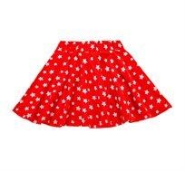 חצאית ג'רזי מסתובבת עם חגורה מגומי רך - אדום כוכבים
