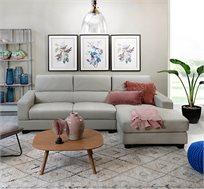 מערכת ישיבה פינתית מעוצבת ריפוד עור אפור בהיר דגם קארלי ביתילי
