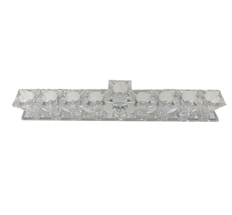 חנוכייה מעוצבת לחג החנוכה עשויה מזכוכית עם 9 קנים  - תמונה 3