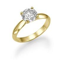 """טבעת אירוסין סוליטר זהב צהוב """"מדונה"""" 0.51  קראט"""