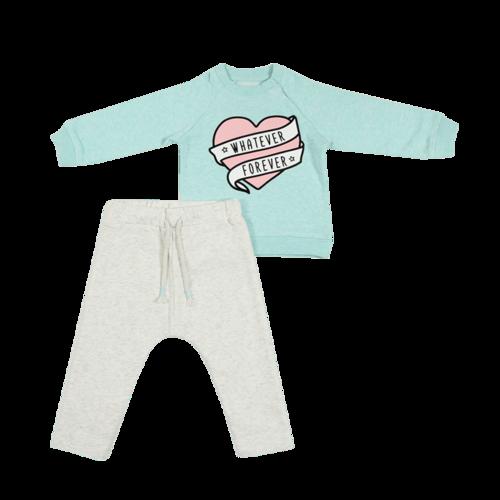 מיננה חליפת גן לילדות (6-2 שנים) - ירוק מנטה לב